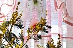 花束,含羞草,由窗口,被照亮,太阳,在桃红色鞋带旁边,帷幕,有玩具蝴蝶的,光,假日,春天3月8日, 库存图片