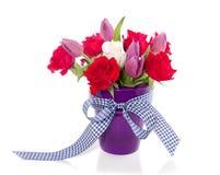 花束紫色红色郁金香 免版税库存图片
