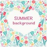 花构筑与五颜六色的花卉心脏夏时题材 图库摄影