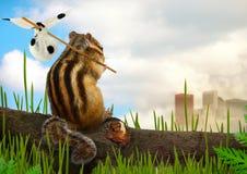 花栗鼠移出境者,生态概念 库存照片