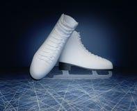 花样滑冰的概念 的被找出的花样滑冰冰鞋 免版税库存照片