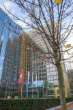 花样滑冰外一周半跳蹦跳的人出版公司大厦,柏林 免版税库存图片