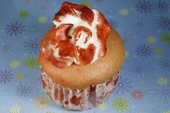 花桃红色杯形蛋糕 库存照片