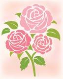 花桃红色玫瑰 免版税图库摄影