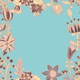 花框架,与花的无缝的纹理 用途当贺卡 免版税库存照片
