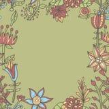 花框架,与花的无缝的纹理 用途当贺卡 免版税库存图片