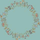 花框架,与花的无缝的纹理 用途当贺卡 图库摄影