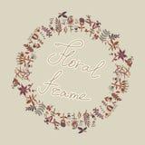 花框架,与花的无缝的纹理 用途当贺卡 库存图片