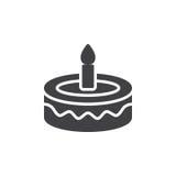花梢生日蛋糕象传染媒介,被填装的平的标志,在白色隔绝的坚实图表 免版税库存照片
