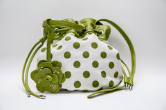 花梢白色绿色圆点袋子 图库摄影