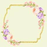 花梢花卉方形的框架 图库摄影