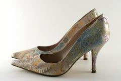 花梢被停顿的高s穿上鞋子妇女 图库摄影