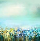 花植物油画  在领域的蒲公英花 与野花的草甸风景 库存照片