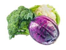 花椰菜、硬花甘蓝和刻痕无头甘蓝 免版税图库摄影