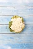 花椰菜在有蓝色木板的手上在背景中 免版税库存照片