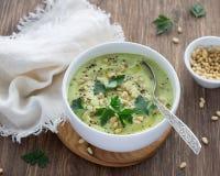 花椰菜纯汁浓汤汤用荷兰芹和松果 免版税库存照片