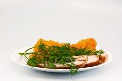 花椰菜chiken rosted的莳萝肉 免版税库存照片