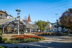 花正方形& x28; Praça das Flores& x29;-新星Petropolis,南里奥格兰德州,巴西 免版税库存图片