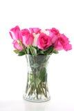 花玫瑰色花瓶 免版税库存照片