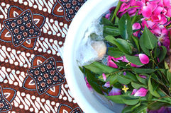 花瓣在与金黄瓢的水中 免版税库存照片