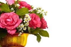 花瓶五颜六色的花 库存照片