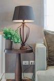 花瓶有木灯的植物在木桌边和经典之作 图库摄影