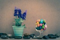 花瓶淡紫色和木小珠在玻璃。 库存照片