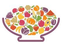 花瓶用水果和蔬菜 皇族释放例证