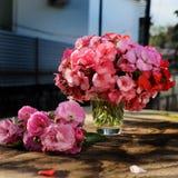 花瓶花,桃红色大竺葵花束 免版税库存图片