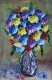 花瓶花,静物画 库存照片