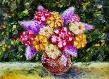 花瓶花 抽象画布五颜六色的用花装饰的油原始绘画 库存照片