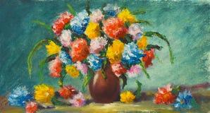 花瓶花 美丽的花绘画在帆布的 附庸风雅 免版税库存照片