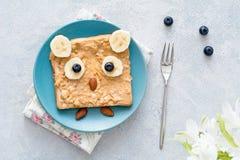花生酱多士孩子健康早餐 图库摄影