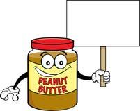 花生酱拿着标志的动画片瓶子 免版税库存图片