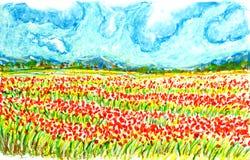 花田风景,上油淡色绘画例证 库存图片