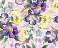 花的五颜六色的无缝的样式 水彩 库存图片
