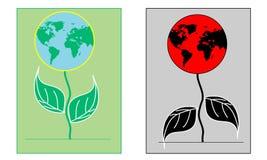 以花的形式干净和被污染的土地 在地球的生态情况 保护的明信片  免版税图库摄影
