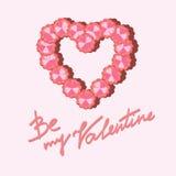 花的心脏在情人节 免版税库存图片