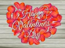 从花的心脏在木桌上 10 eps 库存图片