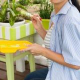 花的愉快的微笑的妇女绘画箱子 花绿色罐 库存图片