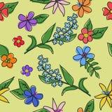 花的样式与一个黑概述的 免版税库存照片