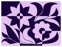 花的样式与叶子的在桃红色和蓝色 免版税库存照片