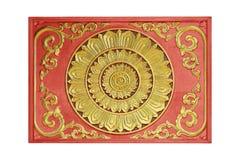 花的样式在装饰的木头雕刻了 免版税库存图片