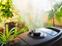 花的耕种的增湿 从空气润湿器的蒸汽在屋子里 库存图片