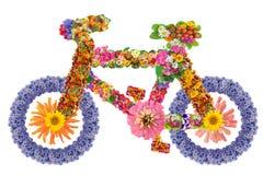 从花的自行车 库存照片