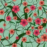 花的颜色样式 无缝的模式 免版税库存照片