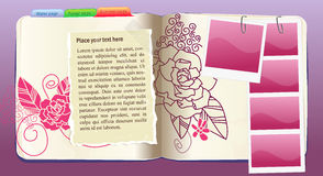 花笔记本模式紫色向量 免版税图库摄影
