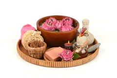 花粉莲花、莲花和肥皂,泰国的手工制造肥皂温泉花 免版税图库摄影