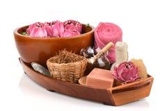 花粉莲花、莲花和肥皂,泰国的手工制造肥皂温泉花 免版税库存照片