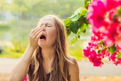花粉过敏概念 少妇打喷嚏 开花的树在背景中 库存照片